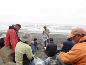 Jim discussing turbidite deposits and deformation at Beach 4